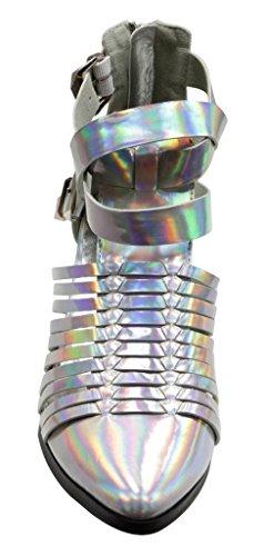 Brise Naturelle Oslo-01 Femmes Talon Épais Tri-boucle Sangle De La Cheville Bretelles Pointe Orteils Creux Argent