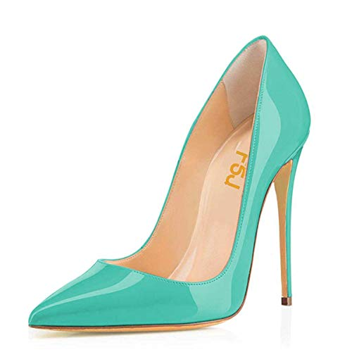 FSJ Women Formal Pointed Toe Pumps High Heel Stilettos Sexy Slip On Dress Shoes Size 12 Turquoise (Sexy Shoes For Women With Big Feet)