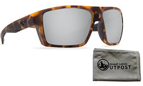 Costa del Mar Bloke Silver Mirror 580P Matte Retro Tortoise + Matte Black Frame Sunglasses w/ - Mar Bloke Del Costa