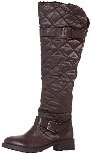 Womens Thigh High Over the Knee Winter Biker Style Low Flat Heel Knee Boots Size 3-8 Brown