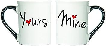 Tumbleweed Coffee Mugs - Mine And Yours Ceramic Mugs - Set Of Two Large Coffee Mug Set Holds 18 Ounces - Wedding Gifts - Sweet Gifts