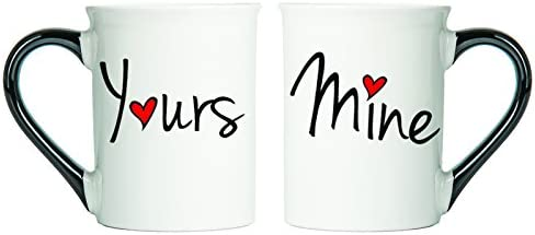 Tumbleweed Coffee Mugs - Mine And Yours Mugs - Set Of Two Large Coffee Cups - Holds Approx. 18 Ounces - Love Mugs