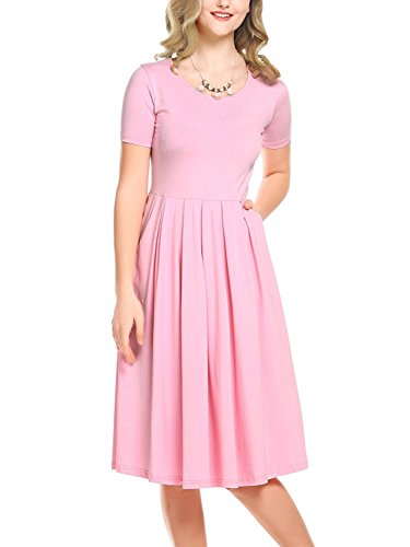 Beluring Summer Casual Midi Dress Cotton Short Sleeve Casual Party Pink XL ()