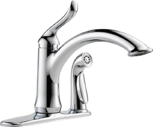 (Delta 3353-RB-DST Linden Single Handle Kitchen Faucet with Spray Venetian Bronze)