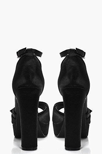 Schwarz Damen Amber Perlen- Und Strassbesetzte Plateau-sandalen Mit Absatz Und Peeptoe Schwarz