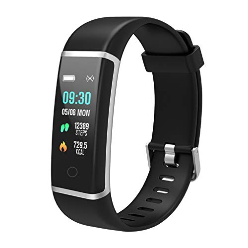 BingoFit Unique Fitness Tracker, Color Screen Activity Tracker Watch, Waterproof Smart Band Step Calorie Counter Pedometer Watch for Kids Women Men Android iOS, Christmas, Sliver Black