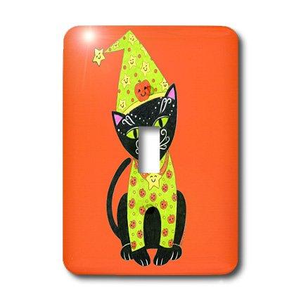 (3dRose Lsp_23297_1 Black Cat Cat In Costume Halloween Cat Orange Halloween Whimsical Cat Whimsical Illustration Single Toggle)