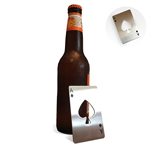 Credit Card Beer Bottle Opener – Stainless Steel Casino Ace Playing CC Size That Fits in Wallet or Pocket For Coke Soda Pop Drink - Includes Cocktail Recipes eBook