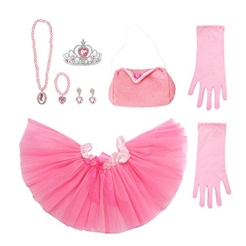 Dress Princess Pink Set Up (Toiijoy 9Pcs Girls Princess Costume Dress up Set with Princess Mini Tutu,Princess Purse,Gloves,Tiara Crown for Toddlers Kids)