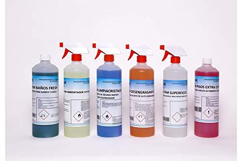 Pack de Limpieza Básico. Incluye Ambientador Cotton. 6 Unidades de 1 litro.