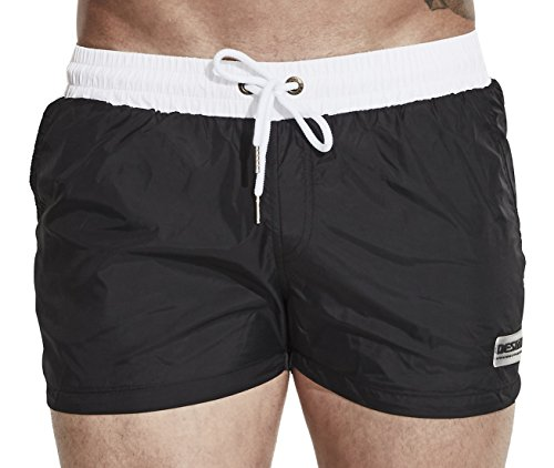Funycell Men's Swim Trunks Beach Shorts with Pockets Black US XS