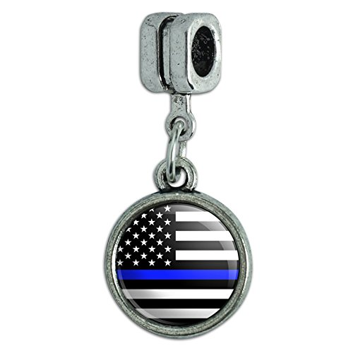 GRAPHICS & MORE Thin Blue Line American Flag Italian European Style Bracelet Charm Bead