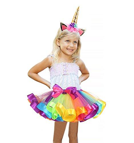 TRADERPLUS Girls Rainbow Tutu Skirt with Unicorn Horn Headband Outfits for Birthday (Large/7-9 (Dress Up Cute)