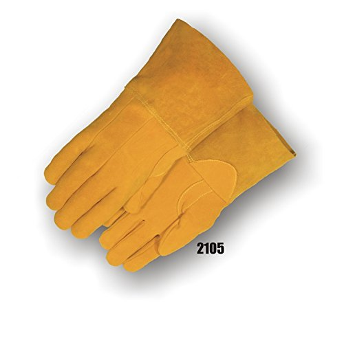 (12 Pair) Majestic GOLD DEERSPLIT TIG WELDERS GLOVE - LARGE, GOLD(2105/10)