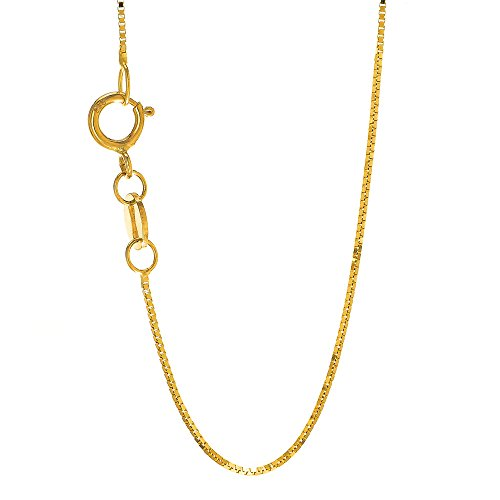 JewelStop 14k Solid Yellow Gold 0.6 mm Baby Chain Necklace, Spring Ring Clasp - (14k Baby Box)