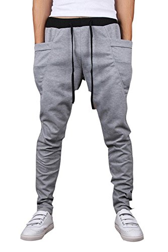 Mooncolour Men's New Arrival Casual Jogging Harem Pants (Small, Light Gray)