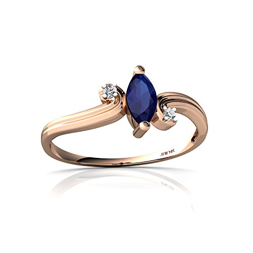 14kt Gold Lab Sapphire and Diamond 6x3mm Marquise Ocean Waves Ring