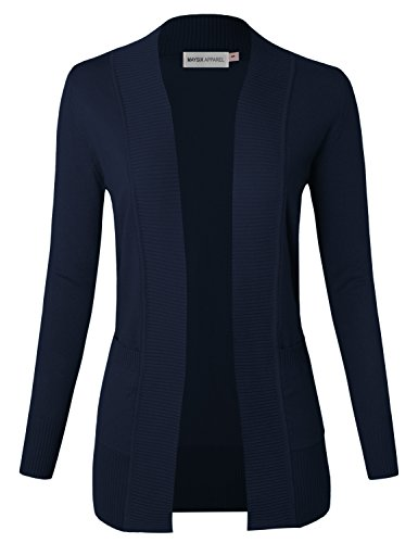 MAYSIX APPAREL Long Sleeve Knit Sweater Open Front Cardigan W/pocket For Women NAVY (Fitted Cardigan Sweater)
