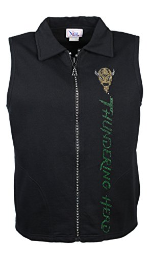 Nitro USA NCAA Marshall Thundering Herd Women's Crystal Zipper Vest with Rhinestone Marco & Gold Metallic Thundering Herd Text, X-Large, -