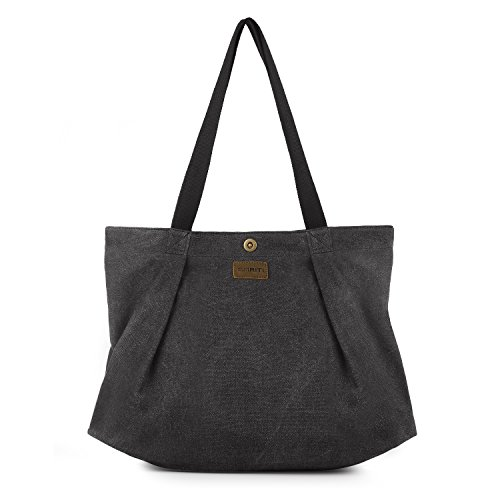 SMRITI Canvas Tote Bag for School Work Travel and Shopping - - Top Cotton Zip Tote