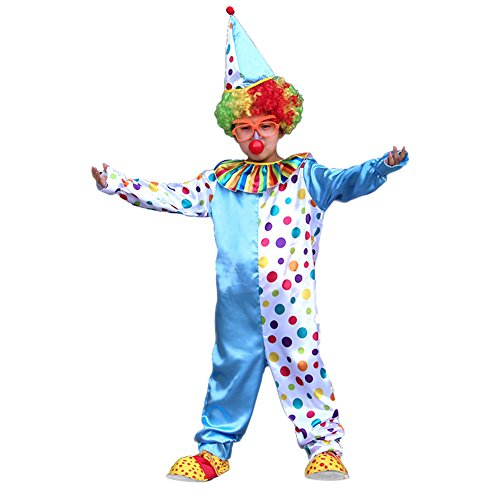 Kids Girls Boys Clown Halloween Costume Cosplay Circus Fancy Dress -