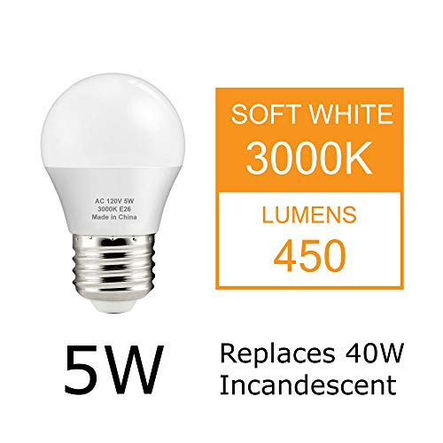 J.LUMI BPC4505 LED Bulb 5W, A15 Bulb, G45 Bulb Shape, 40 Watt Equivalent, E26 Base, 3000K Soft White, Ceiling Fan Light Bulbs, Appliance Bulb, Bathroom Light Bulbs, Non Dimmable (Pack of 4)