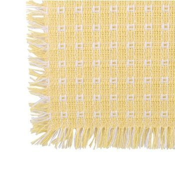 62 x 62 (Square) Homespun Tablecloth, Hand Loomed, 100% Cotton, Made in USA, Buttercup/White