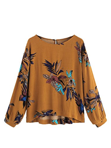 Floerns Women's High Low Floral Print Casual Keyhole Back Top Blouse Yellow (Floral Keyhole Back Top)
