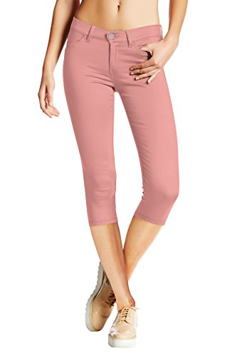Petite Trouser Jeans - Women's Hyper Stretch Denim Capri Jeans Q44876 Blush XL