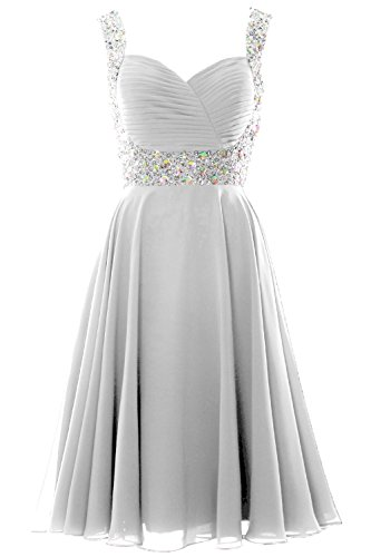 MACloth Elegant Straps Cocktail Dress Chiffon Short Wedding Party Formal Gown Blanco