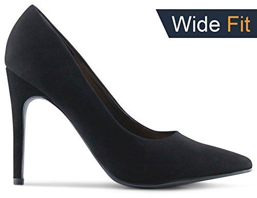 Black Sexy Heel Pump Shoe - Womens Pointy Toe Wide-Fit High Heels Stiletto Dress Pumps - (Black Nubuck) - 9