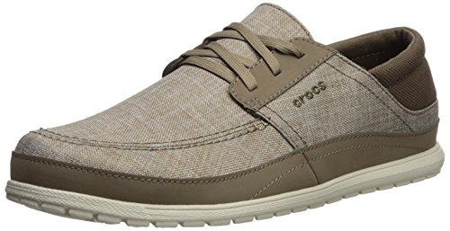 Crocs Men's Santa Cruz Playa Lace M Sneaker, Khaki/Stucco, 11 M (Crocs Santa Cruz Men)