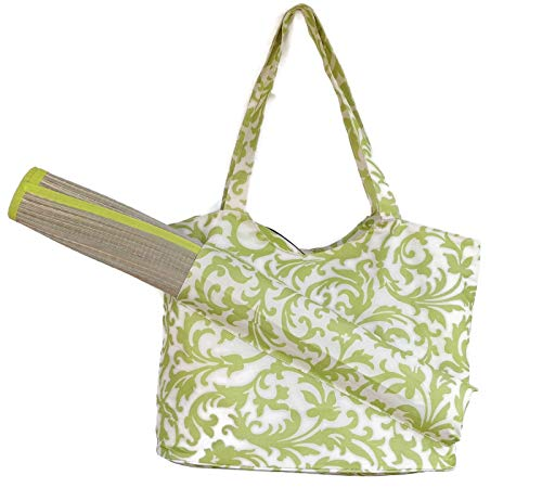 Ashburn Straw Mat with Beach Tote Bag Set, Pocket Holds Outdoor Beach, Picnic, Yoga, Camping Mat (Lime Green)