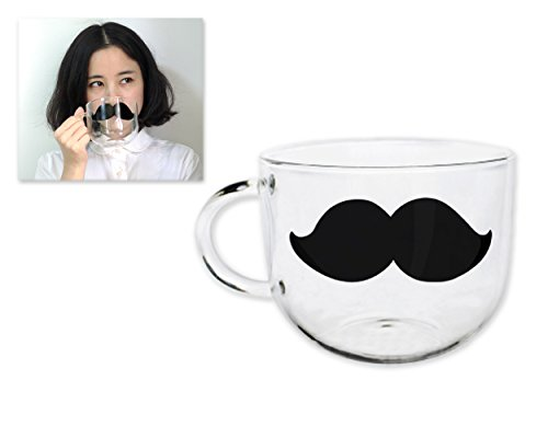 Cup Moustache (Ace Select Glass Coffee Cup 550ml Coffee Mug Mustache Pattern Tea Cup for Drinking Water Cup with Cover)