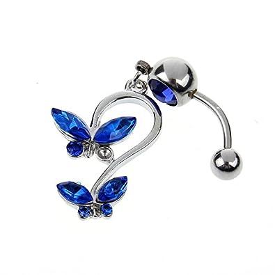 Crystal Single Gem Dangle Butterfly Pierced Navel