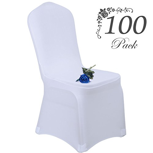 Voilamart Wedding Chair Covers Set of 100pcs Stretchable Polyester Spandex Chair Slipcover for Dinning Banquet Party Ceremony - White (White Covers Wedding Chair)