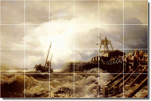 (Ceramic Tile Mural-Andreas Achenbach Waterfront Painting 84. 48