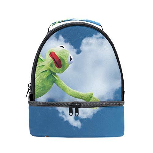 Alinlo le Hearted-shaped nuages avec motif de grenouille Boîte à lunch Sac isotherme Sac avec bandoulière réglable pour Pincnic à l'école