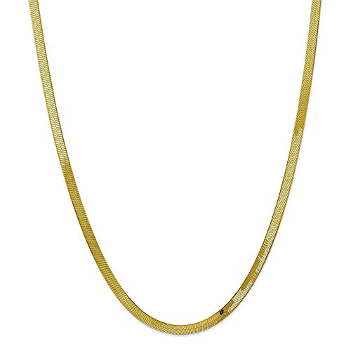 Solid 10k Yellow Gold 4.0mm Silky Herringbone Chain Necklace 20