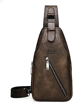 Bolsos de hombro Viajes Senderismo Cross Body Messenger Bolsas De Hombro Hombres De Gran Capacidad En El Pecho Sling Bag Solid Men Split Leather Bag Nuevo