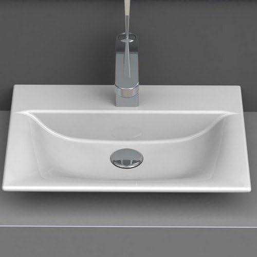 CeraStyle 031600-U-One Hole Olinda Rectangle Ceramic Wall Mounted Vessel Sink, White