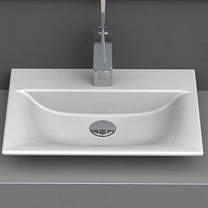 CeraStyle 031600 U One Hole Olinda Rectangle Ceramic Wall Mounted/Vessel  Sink, White