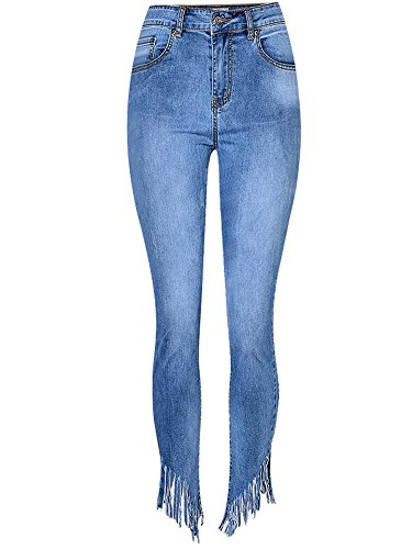 - JeansForest Women's Distressed Skinny Bootcut Frayed Fringe Cropped Jeans Blue