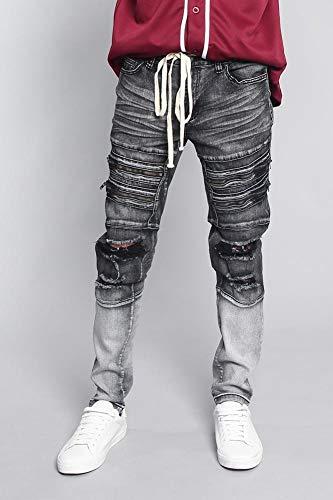 (Victorious Men's Distressed Dip Dyed Denim Jeans DL1247 - Black - 32/30 - F17G )