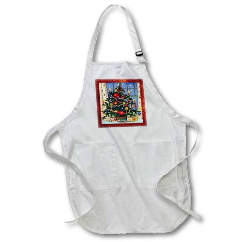 3dRose apr/_8031/_4 Old Fashion Christmas Tree-Full Length Apron with Pockets 22 by 30-Inch Black