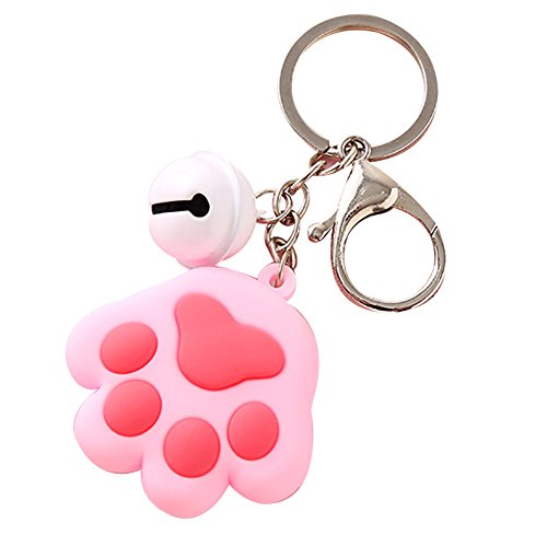 Slendima Cute Dog Cat Paw Small Bell Charm Key Ring Holder Car Keychain Bag Ornament Pink