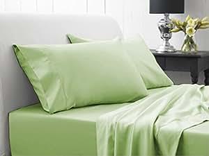 Dreamz–Juego de ropa de cama 500hilos sábana bajera (bolsillo profundo: 8Inch) con 2fundas de almohada Euro Super King, color verde sólido, 500TC 100% algodón Extra profundo bolsillo sábana bajera