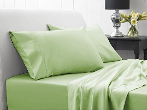 Laxlinens Drap Plat avec 2 taies d'oreiller suppléHommestaire empereur, massif vert sauge 350 fils en coton égypcravaten