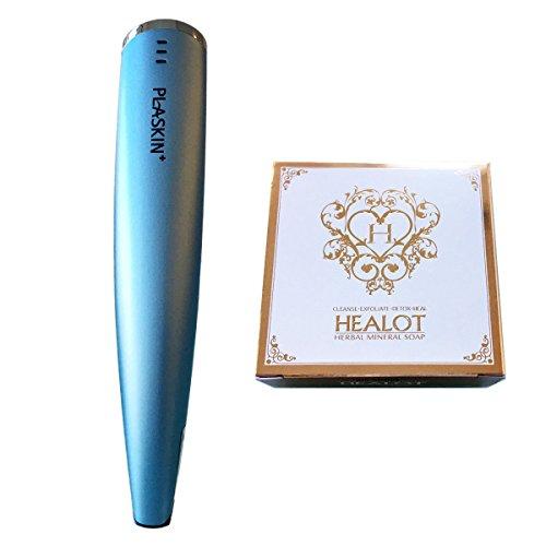 Daonix Plaskin Plasma+ Plus Beauty Device w/Device Pouch & Cera Cream 3.5oz / 100g, + Healot Herbal mineral soap, Blue - 4th by Daonix Plaskin