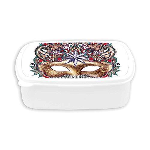 Mardi Gras Durable Plastic Lunch containers,Venetian Carnival Mask Silhouette with Ornamental Elements Masquerade Costume Decorative For dining room,7.09